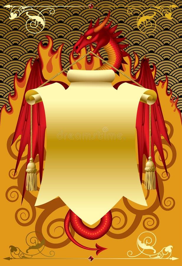 Drago rosso con una bandiera dell'oro illustrazione vettoriale