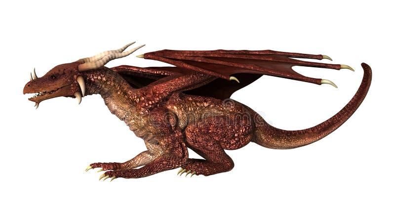 drago rosso di fantasia dell'illustrazione 3D su bianco royalty illustrazione gratis