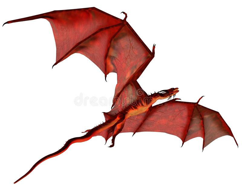 Drago rosso durante il volo illustrazione di stock