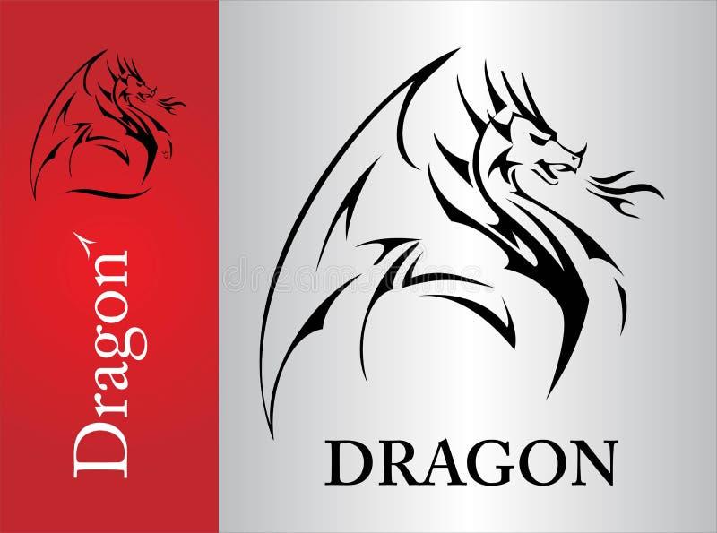 Drago, schizzo del drago, spandente la sua ala royalty illustrazione gratis