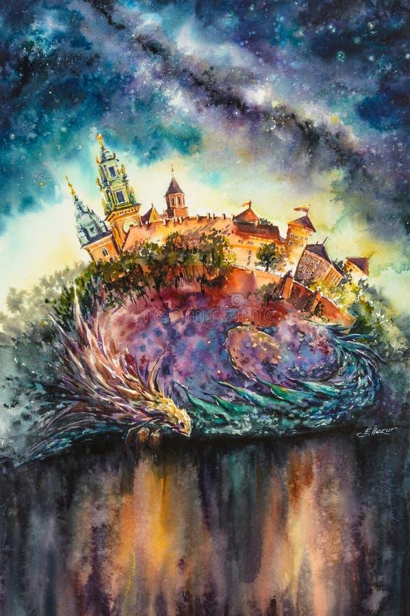 Drago, simbolo della città polacca Cracovia watercolors illustrazione vettoriale