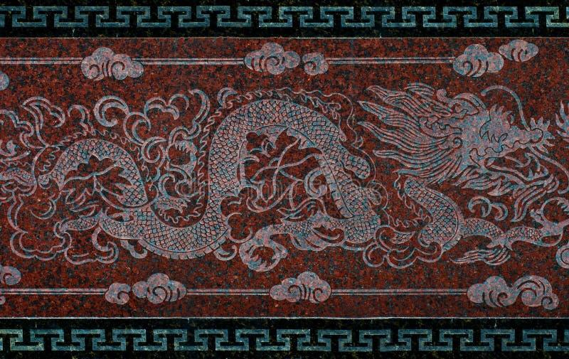Drago sulla parete in un tempiale cinese immagine stock libera da diritti