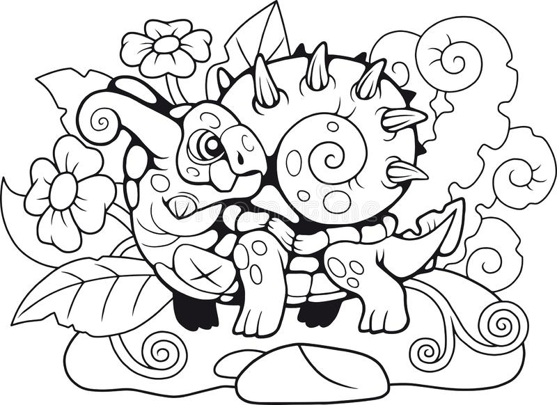 Drago sveglio della lumaca, libro da colorare, illustrazione divertente illustrazione di stock