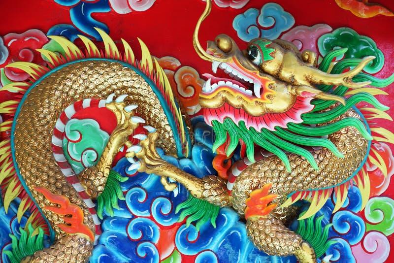 Drago in tempio cinese, Tailandia fotografia stock libera da diritti