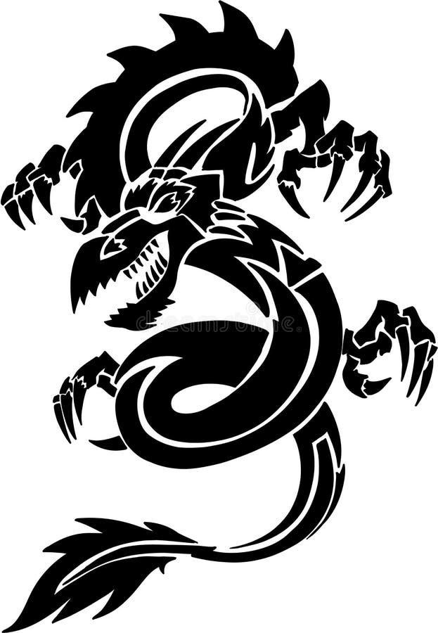 Drago tribale del tatuaggio illustrazione di stock