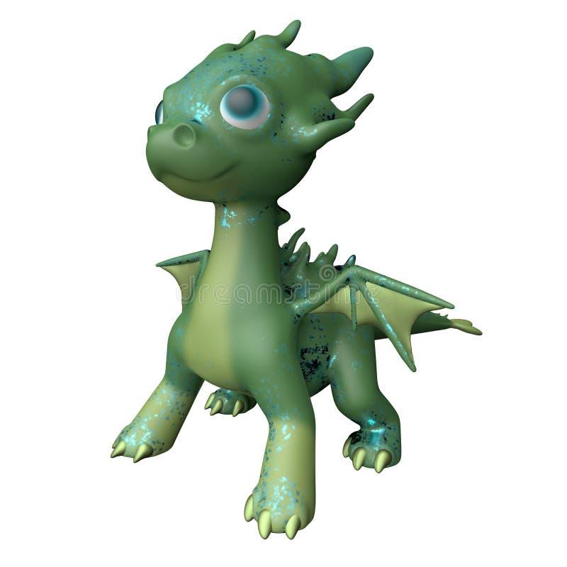 Drago verde su priorità bassa bianca rappresentazione 3d illustrazione di stock
