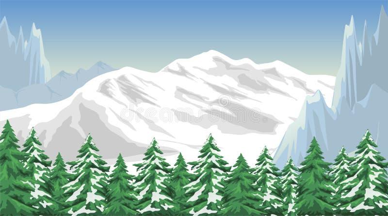 dragobrat krajobrazowa halna Ukraine zima ilustracja wektor