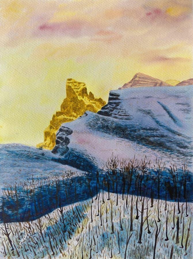 dragobrat krajobrazowa halna Ukraine zima Akwarela obraz na papierze ilustracji