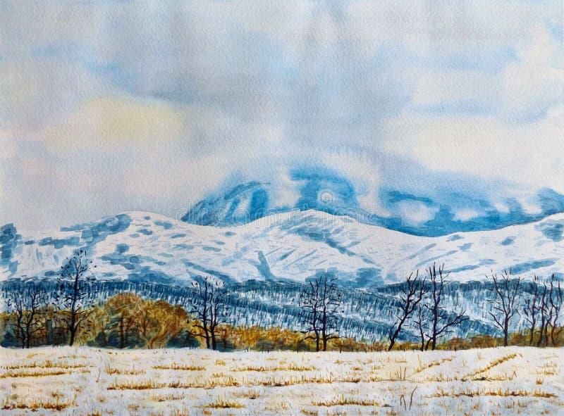 dragobrat krajobrazowa halna Ukraine zima Akwarela obraz na papierze obrazy stock