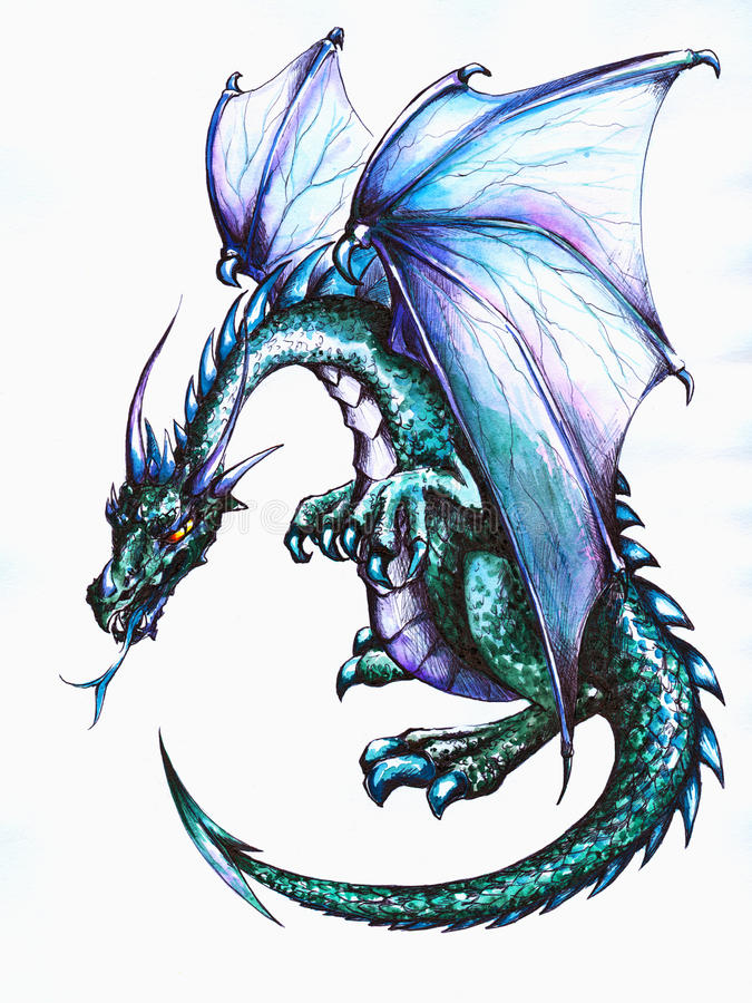 Dragon. Blue dragon.Picture I have created with pen and watercolors