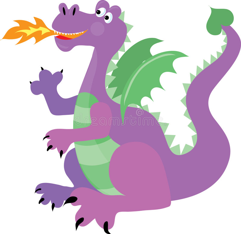 Dragon. Happy purple dragon with green wings breathing fire royalty free illustration