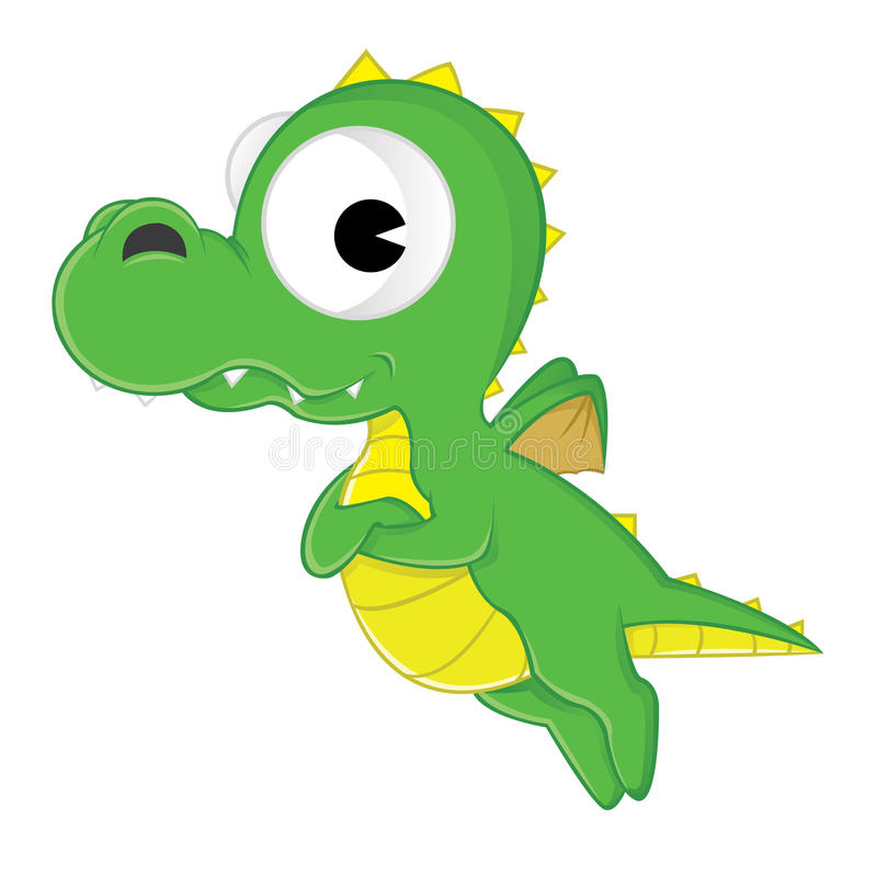 Dragon. Illustration of a cute green dragon - isolated over white background royalty free illustration