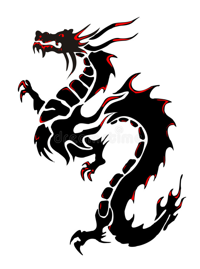 Dragon. Silhouette of a black dragon on a white background stock illustration