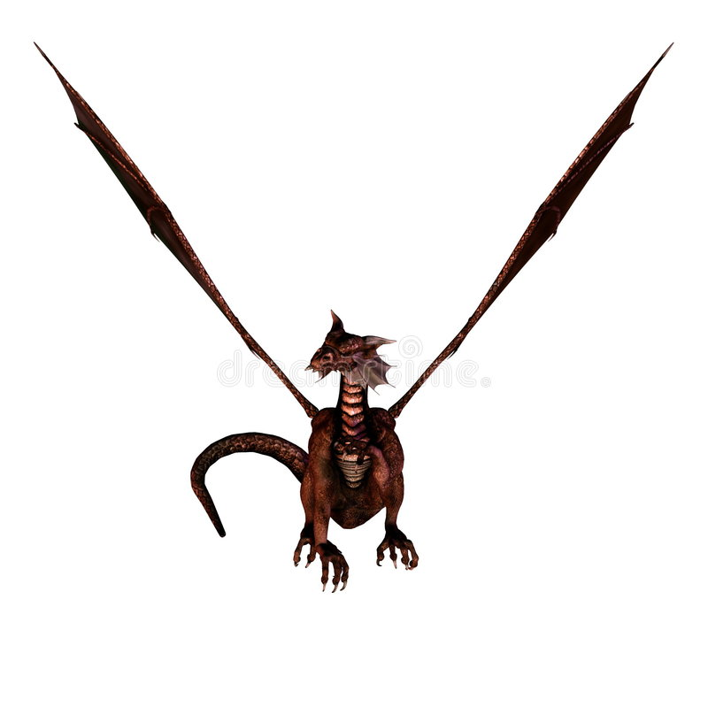 Dragon. Isolated dragon flying on white background - 3d render