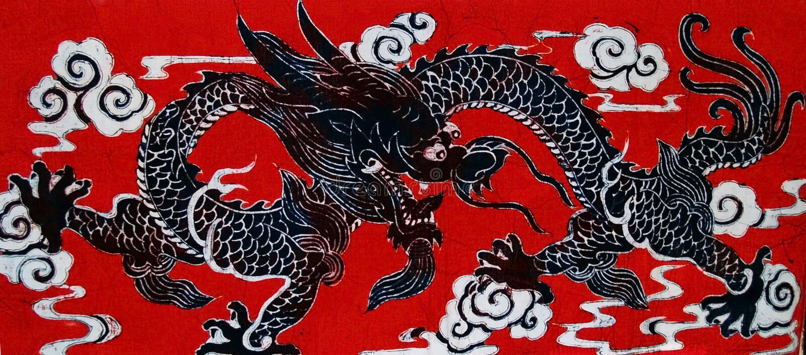 Dragon. Batik on fabric royalty free stock photography