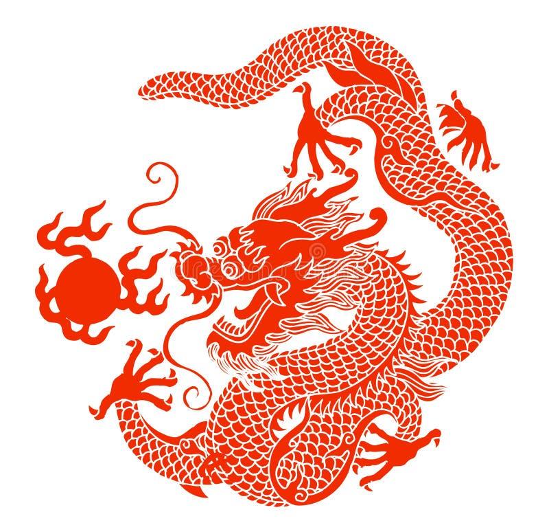 Dragon. Illustration drawing of yellow dragon playing ball stock illustration