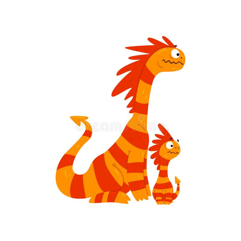 Dragon affectueux de mère et son bébé, dragons à ailes rayés mignons, vecteur mythique de personnages de dessin animé d'animaux d illustration de vecteur