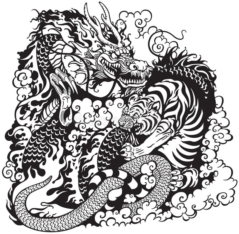 Free Dragon And Tiger Fighting Royalty Free Stock Images - 48640619