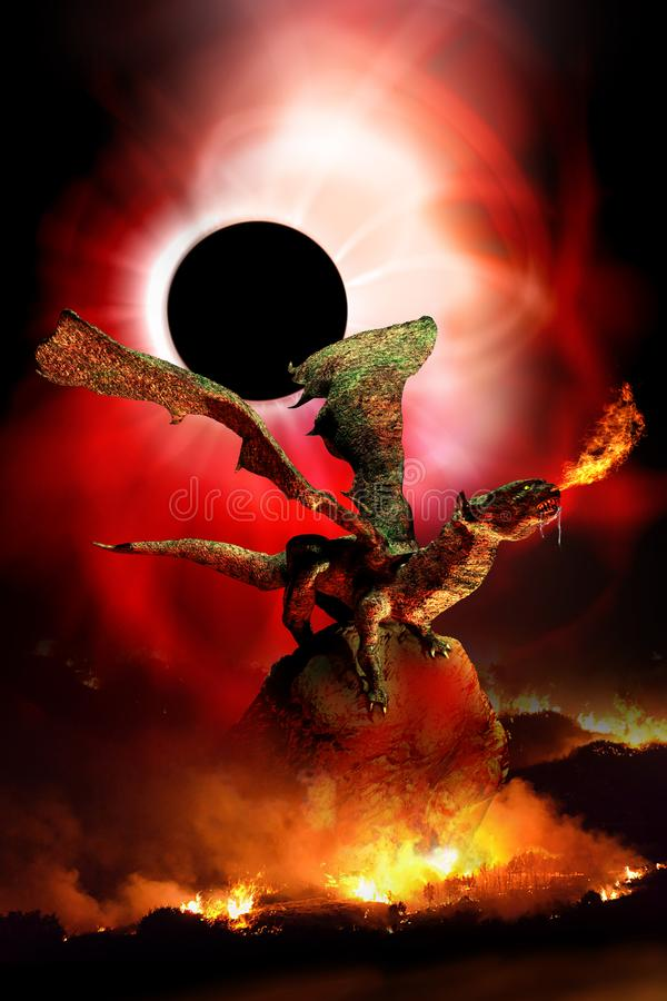 Dragon Apocalypse stock illustrationer