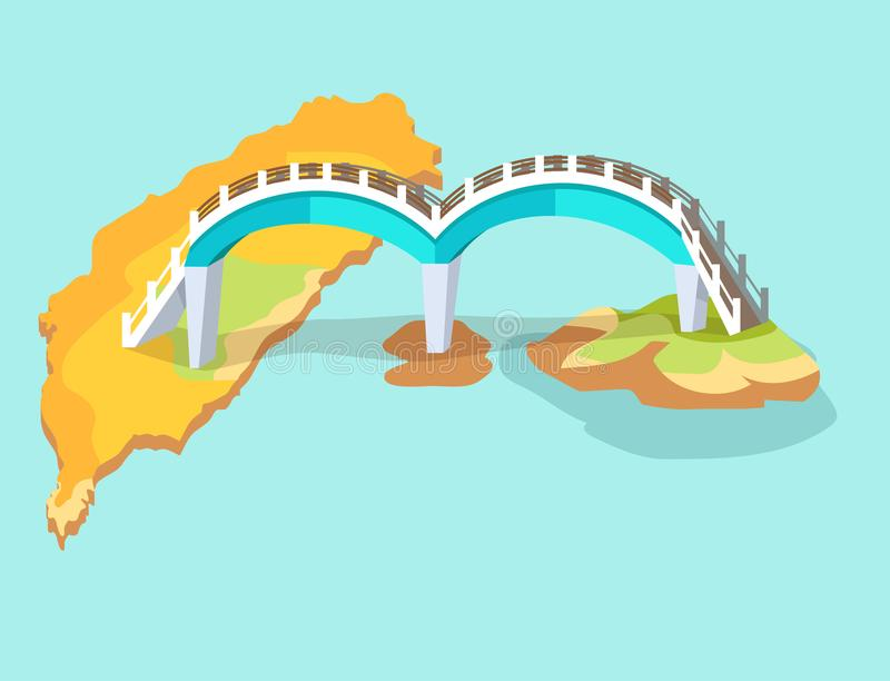Dragon Arched Bridge no ícone tirado mão de Taiwan ilustração do vetor