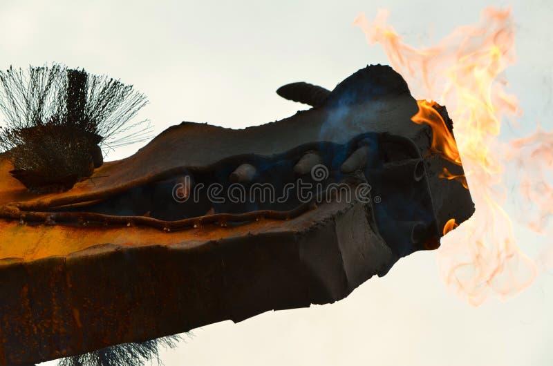 Dragon avec le feu images stock