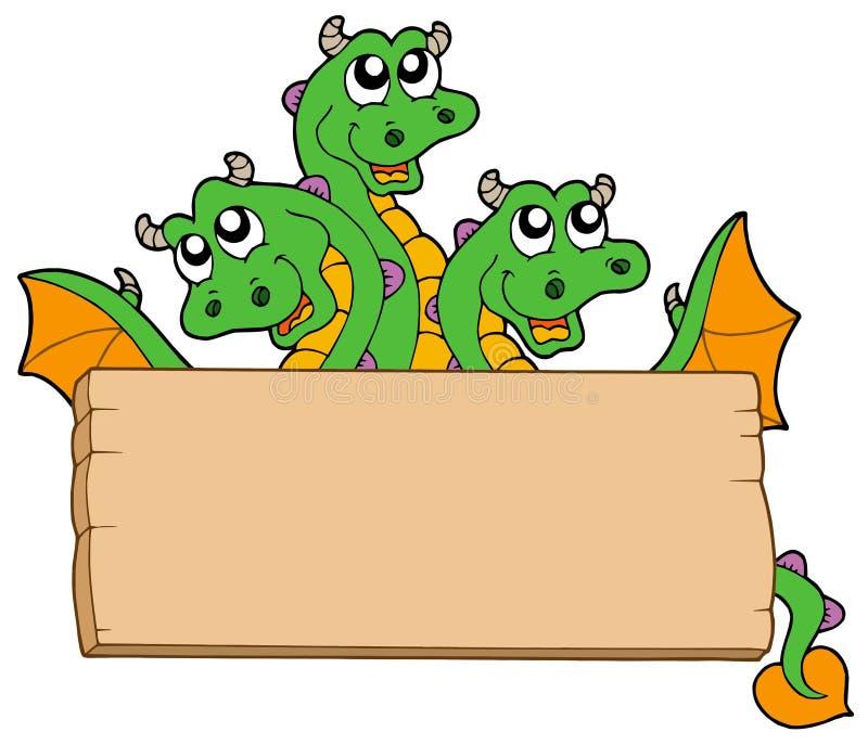Dragon avec le signe en bois illustration libre de droits