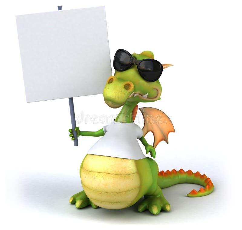 Dragon avec un T-shirt blanc illustration stock