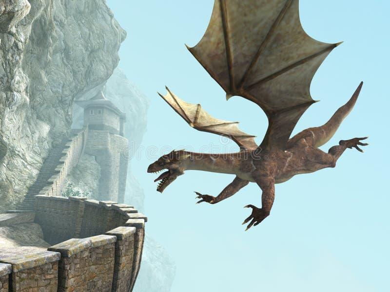 Dragon, balcon médiéval de château de pierre illustration stock