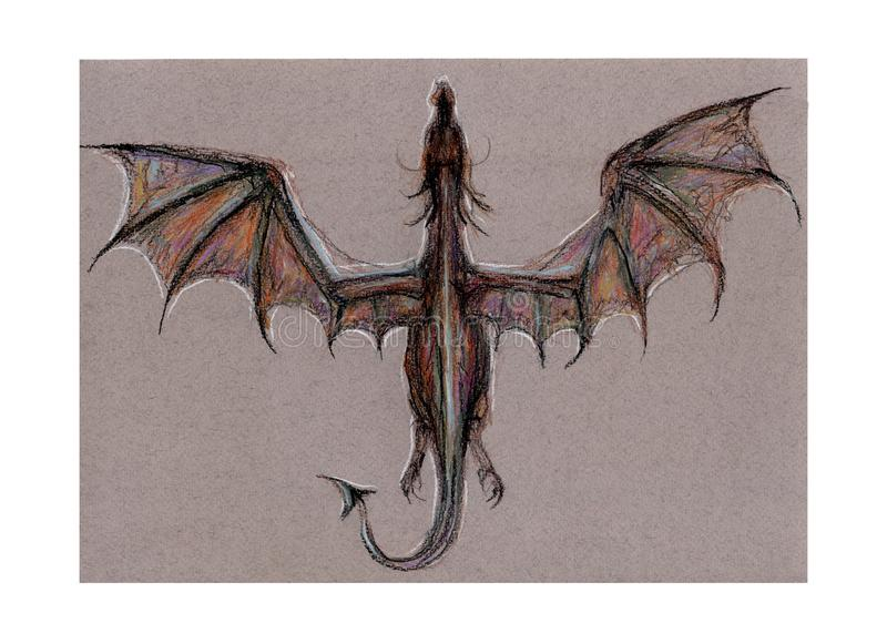 Dragon Ball, Fliegen, Illustration mit farbigen Bleistiften vektor abbildung