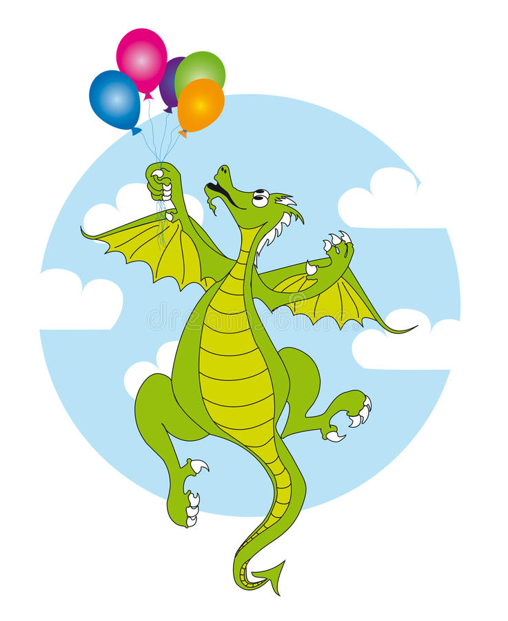 Download Dragon and balloons stock illustration. Illustration of monster - 15039022