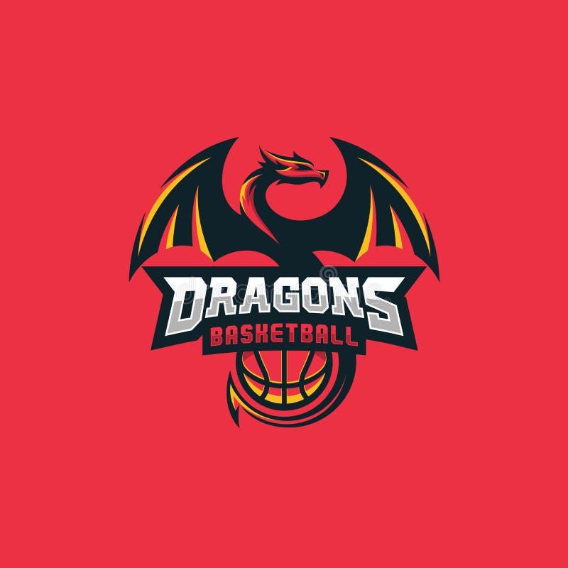 Dragon Basketball Design-het Vectormalplaatje van de conceptenillustratie stock illustratie