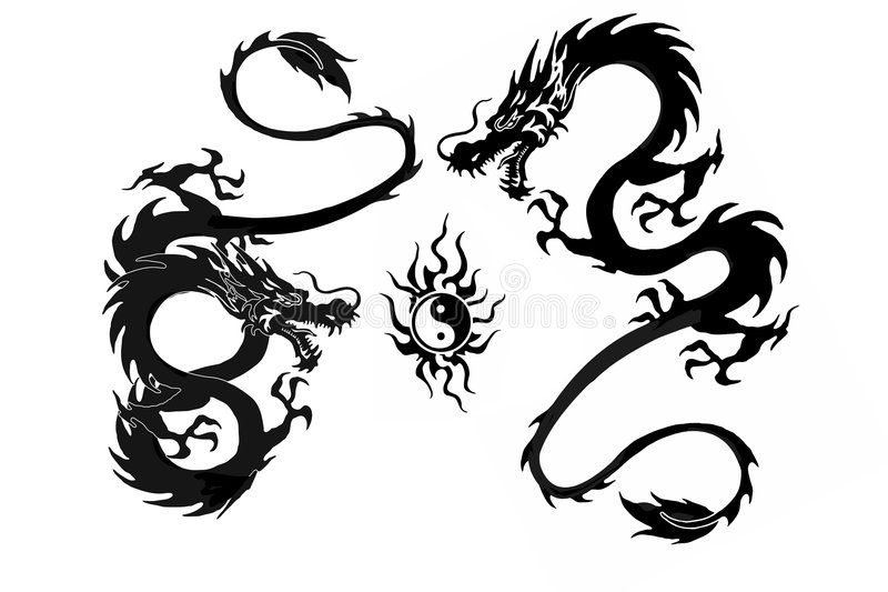 Dragon battle. And yinyang symbol illustration isolated on white background. Cool tattoo