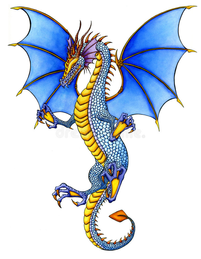 Dragon bleu illustration de vecteur