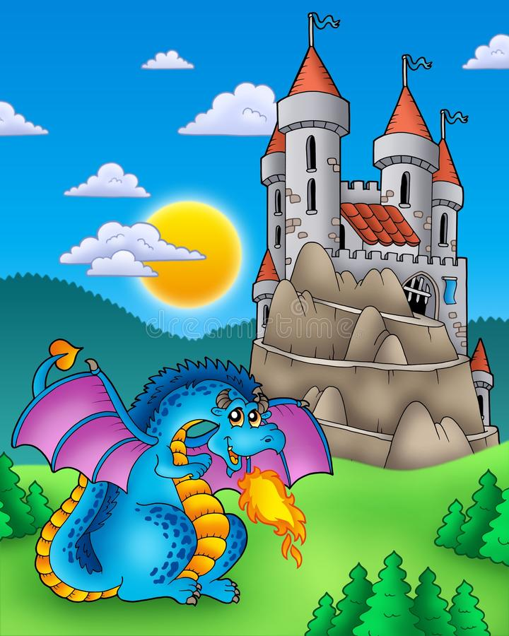 Dragon bleu avec le château sur la côte illustration de vecteur