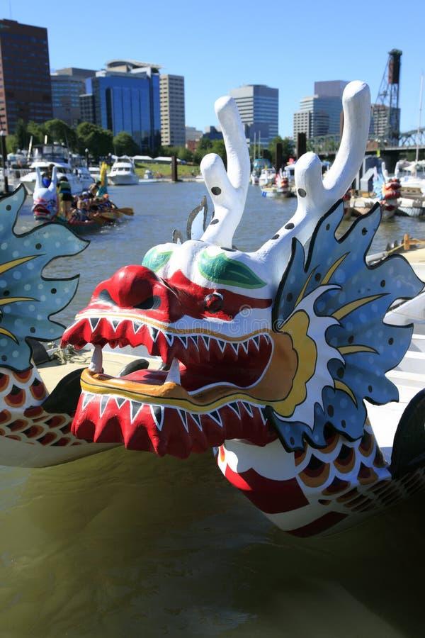 Dragon boat, downtown marina Portland OR. stock photography