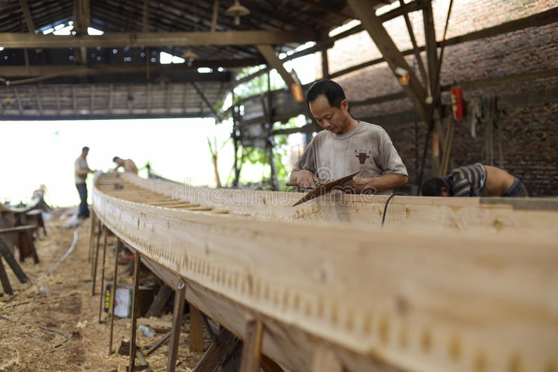 Dragon Boat factory in Guangzhou. royalty free stock images