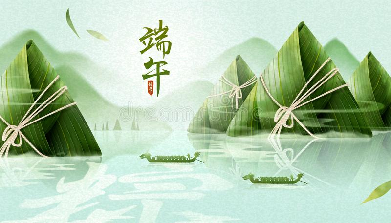 Dragon boat festival banner. Giant rice dumplings mountain upon the river, dragon boat festival written in Chinese characters stock illustration