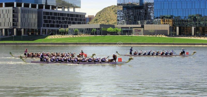 Dragon Boat Festival p? Tempe Town Lake Arizona 2019 royaltyfri foto