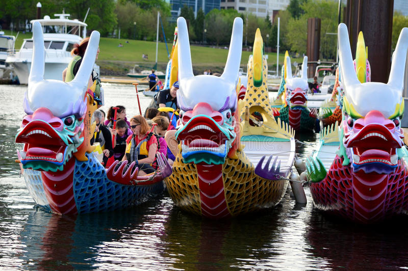 Dragon Boat Festival. This photo was taken in Portland. Dragon Boat Festival is a yearly event that attracts 5,500 paddlers and over 70,000 spectators in stock photo