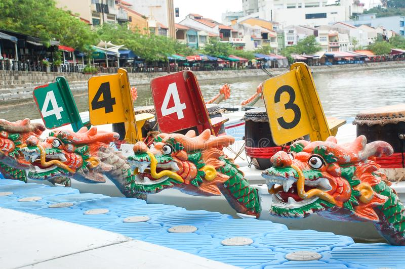 Dragon boat festival at Singapore river. Clark Quay, Singapore royalty free stock photo