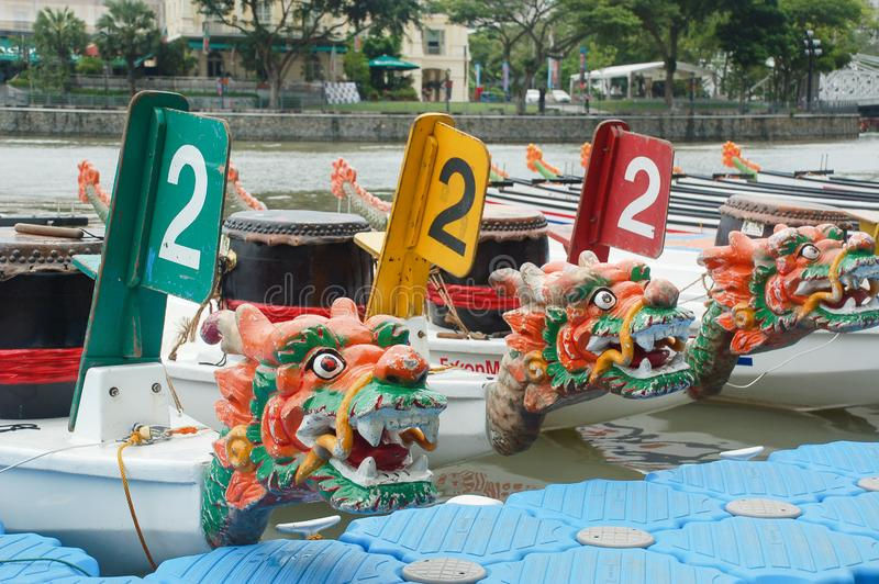 Dragon boat festival at Singapore river. Clark Quay, Singapore royalty free stock images