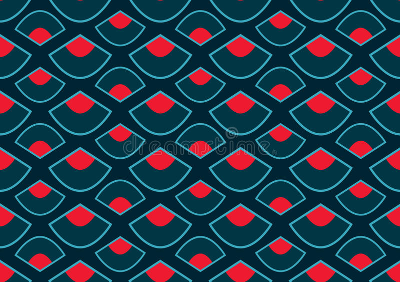 Dragon Boat Festival style fan style seamless pattern. This illustration is design abstract Dragon Boat Festival with style fan in red and blue colors background stock illustration