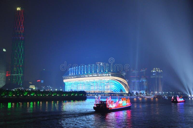Haixinsha Stadium and Dragon Boat in Guangzhou Canton China royalty free stock photo