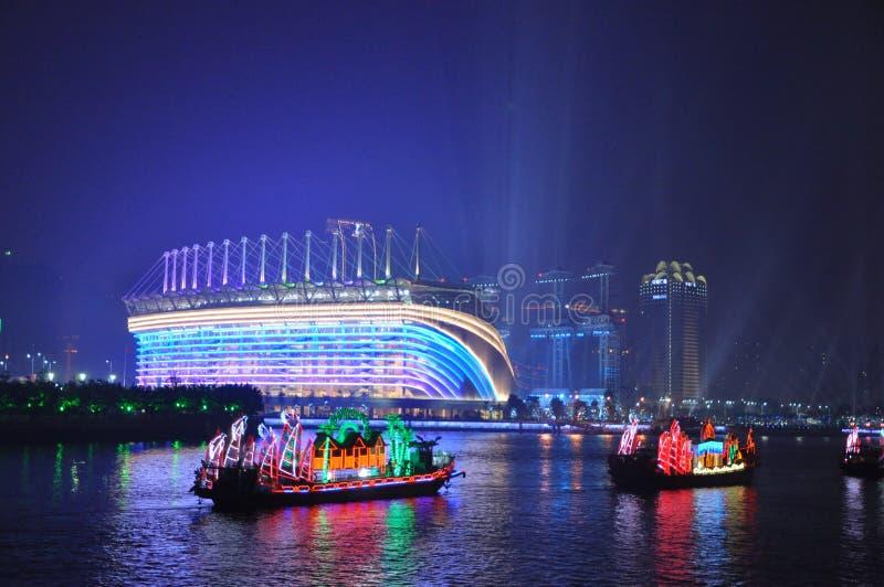 Haixinsha Stadium and Dragon Boat in Guangzhou Canton China stock images