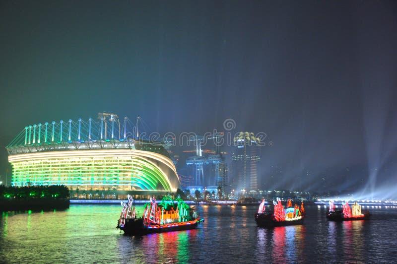 Haixinsha Stadium and Dragon Boat in Guangzhou Canton China royalty free stock photography