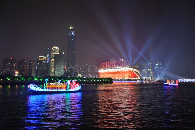 Haixinsha Stadium and Dragon Boat in Guangzhou China royalty free stock image
