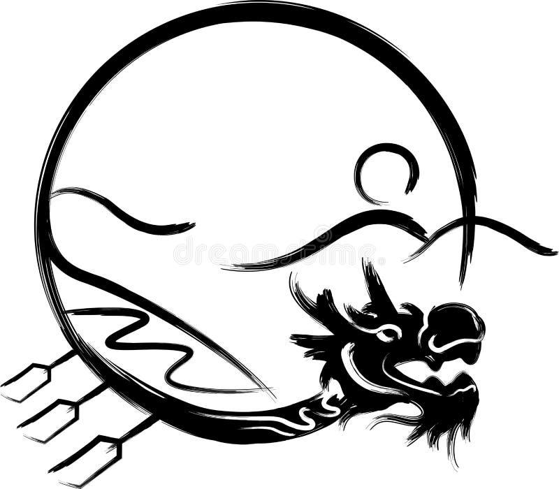 Dragon boat ink painting design sign vector illustration
