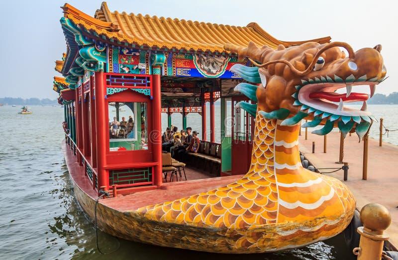 Dragon boat on the Kunming Lake in Beijing China at Beihai Park royalty free stock photography