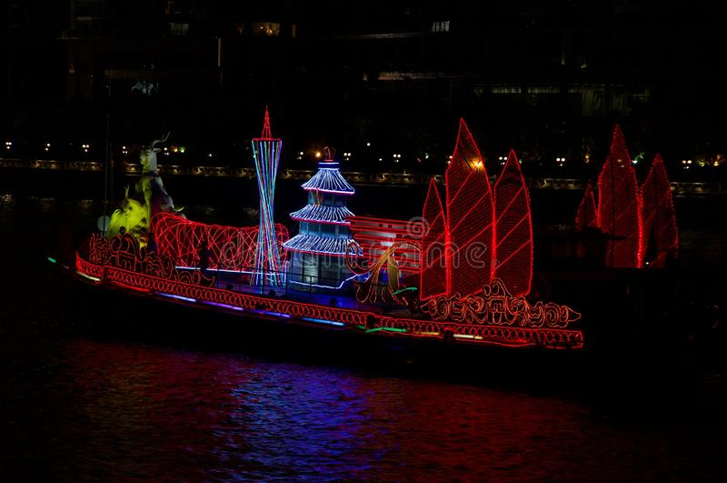 Dragon Boat on the Pearl River Guangzhou China. A dragon boat with beautiful lights on the Pearl River in Guangzhou Canton China. This is 2010 Asian Games stock photos