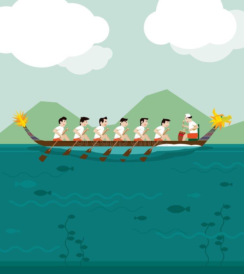 Dragon boat racing background stock illustration